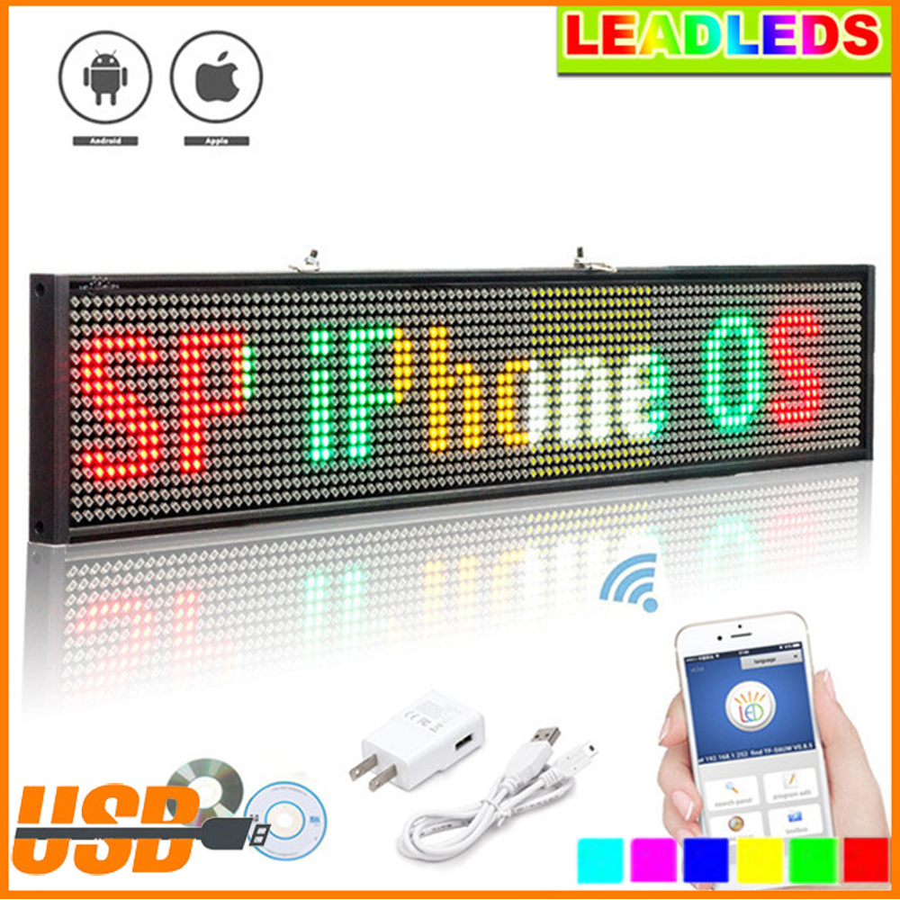 50CM P5 Led Sign Programmable Scrolling Message LED Display Board Display multi-language Time countdown Support Wifi Ios onbon player bx yq4 full color control box led display screen controller support multi language and multi area display