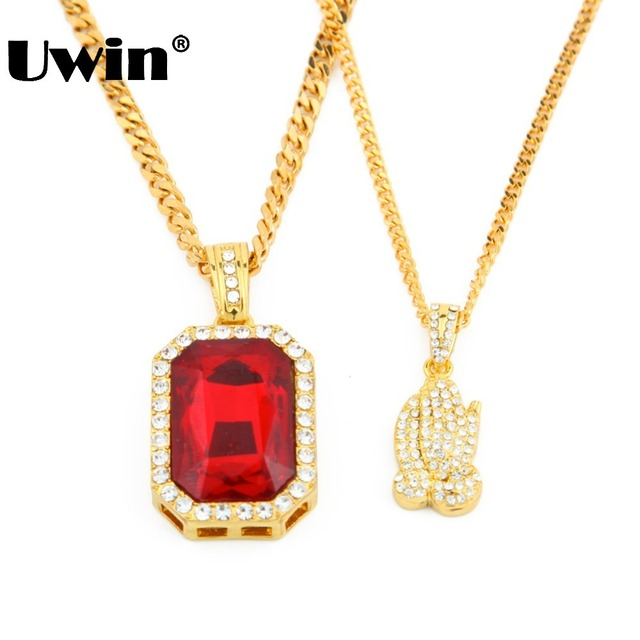 New iced out pendant necklace set mens gold color red rhinestone new iced out pendant necklace set mens gold color red rhinestone pendant cuban chain full stone mozeypictures Choice Image