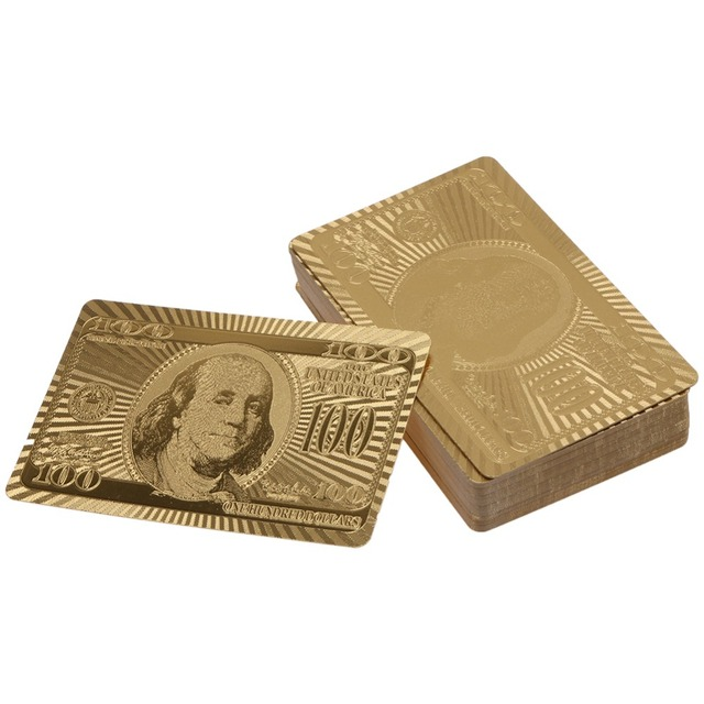 Luxury Gold Plated Poker Game Playing Card Platinum Foil Waterproof Creative Playing Card with Embossing Pattern Gift Collection