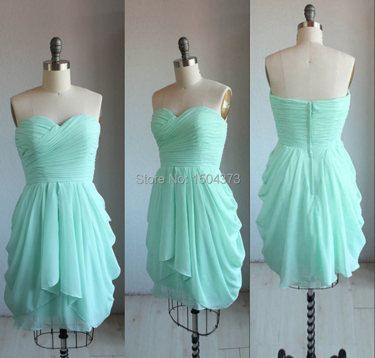 Hot Mint Green Short Prom Dresses Summer Beach Bridesmaid 2017 Sweetheart Pleated Ruffles Party Gowns Real Images In From