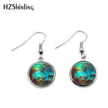 NHE-0021 Blue Nebula Earring Charm Fish Hook Earrings Galaxy Space Jewelry Glass Photo Cabochon Earring