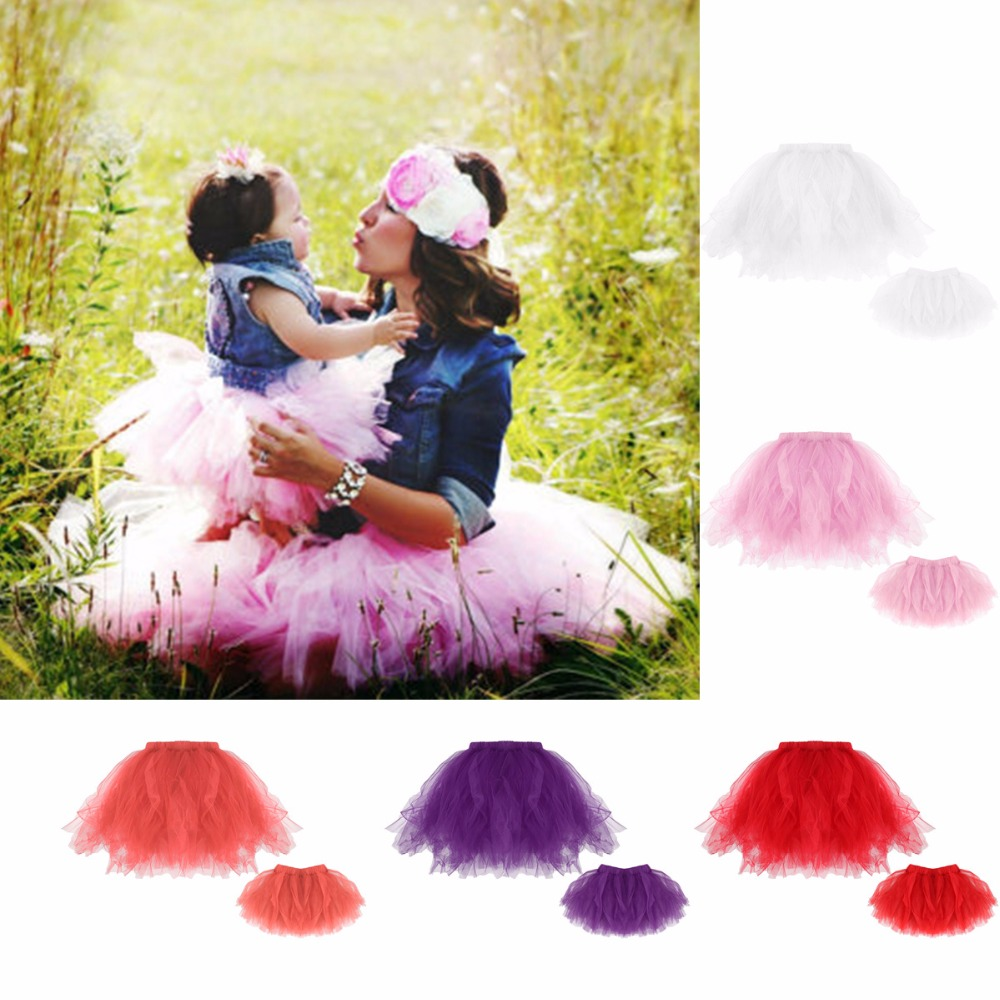 Puseky Family Matching Clothes Mother  Baby Girl Tutu Skirt 1-3 Years Girl Dance Skirt Mom Daughter Cloth Tulle Petticoat
