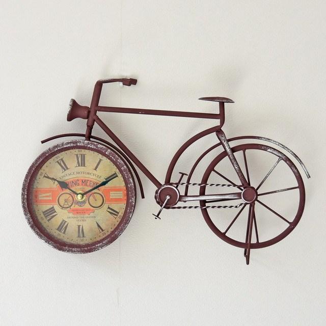 Creative Metal Bike Alarm Clock Wall Retro Bicycle Design Iron Craft Hanging Clocks Home