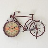 Creative Metal Bike Alarm Clock Wall Clock Retro Bicycle Design Iron Craft Hanging Wall Clocks Home Decor