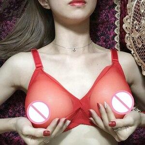 Image 2 - Сексуальный Трансвестит транссексуал бюстгальтер форма груди силиконовые груди бюстгальтер полупрозрачный карман Бюстгальтер без груди
