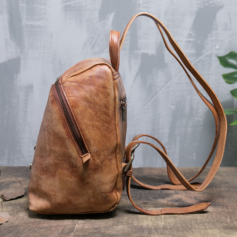 Ladies Backpack Bags Handmade Natural Genuine Leather Backpacks Women Travel Rivet Shoulder Back Pack Female Knapsack