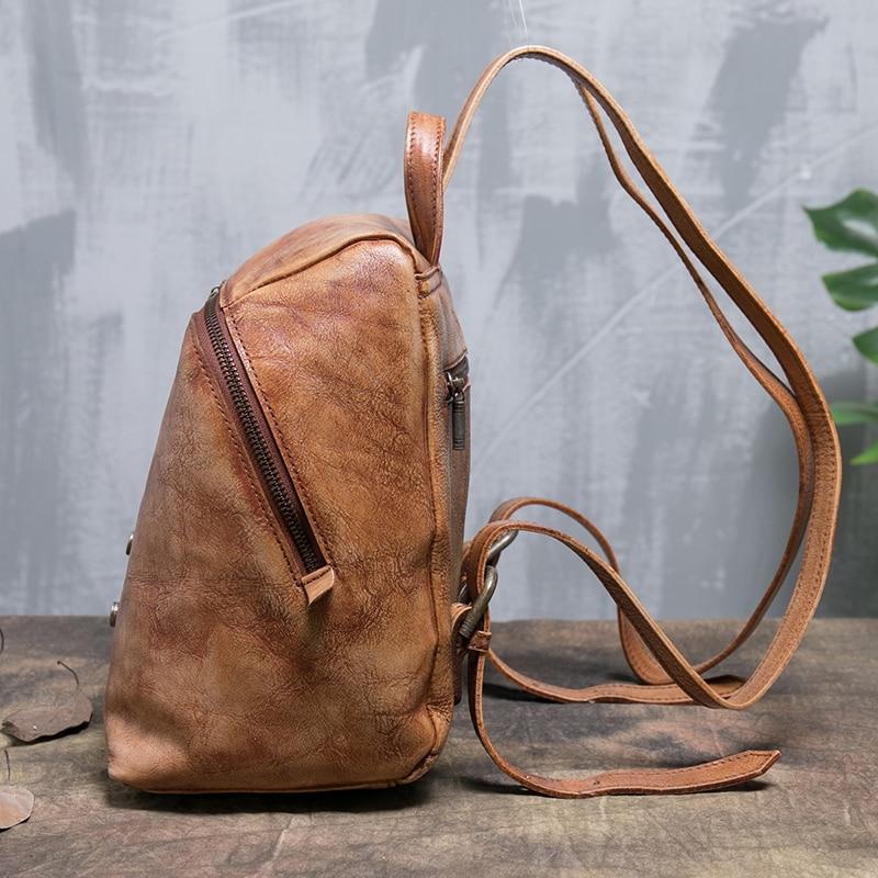 Ladies Backpack Bags Handmade Natural Genuine Leather Backpacks Women Travel Rivet Shoulder Back Pack Female Knapsack