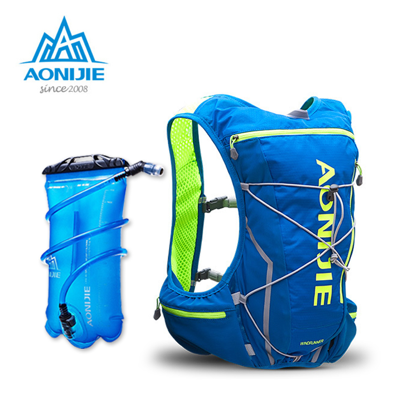 New AONIJIE E904S Nylon 10L Outdoor Bags Hiking Backpack Vest Professional Marathon Running Cycling Backpack for 2L Water Bag zea rtm0911 1 children s panda style super soft autumn winter wear cap scarf set blue
