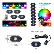 6sets RGB LED Rock Lights with Bluetooth Controller, Timing Function, Music Mode – 4 / 8 Pods Multicolor Neon LED Light Kit