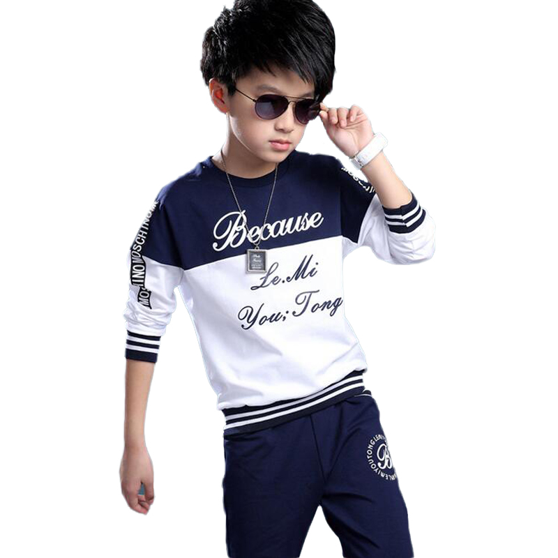 Spring and Autumn Children Clothing Suit Print Letter Roupas Infantis Menino Boy' s Batwing Sleeve Sweater Two - piece Sets 2016 new boy s suit children s wear boy s spring cuhk children s chest letter suits fashion boy casual clothes boy sport sets