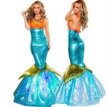 Mermaid Costume Cosplay Disfraces de Halloween bar discoteca traje de la etapa rendimiento Mascarada señora traje atractivo de la sirena vestir