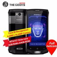 Blackview BV8000 Pro 5.0 Phone 6GB+64GB ROM 4180mAh Android 7.0 MTK Octa Core IP68 Waterproof Face/Fingerprint Unlock NFC OTG