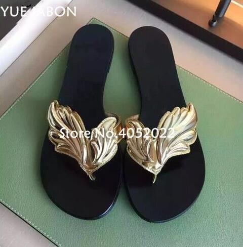 Haute qualité Top Design pantoufle sandales femmes feuille diapositives tongs appartements ange aile femmes pantoufles plage chaussures d'été diapositives - 5