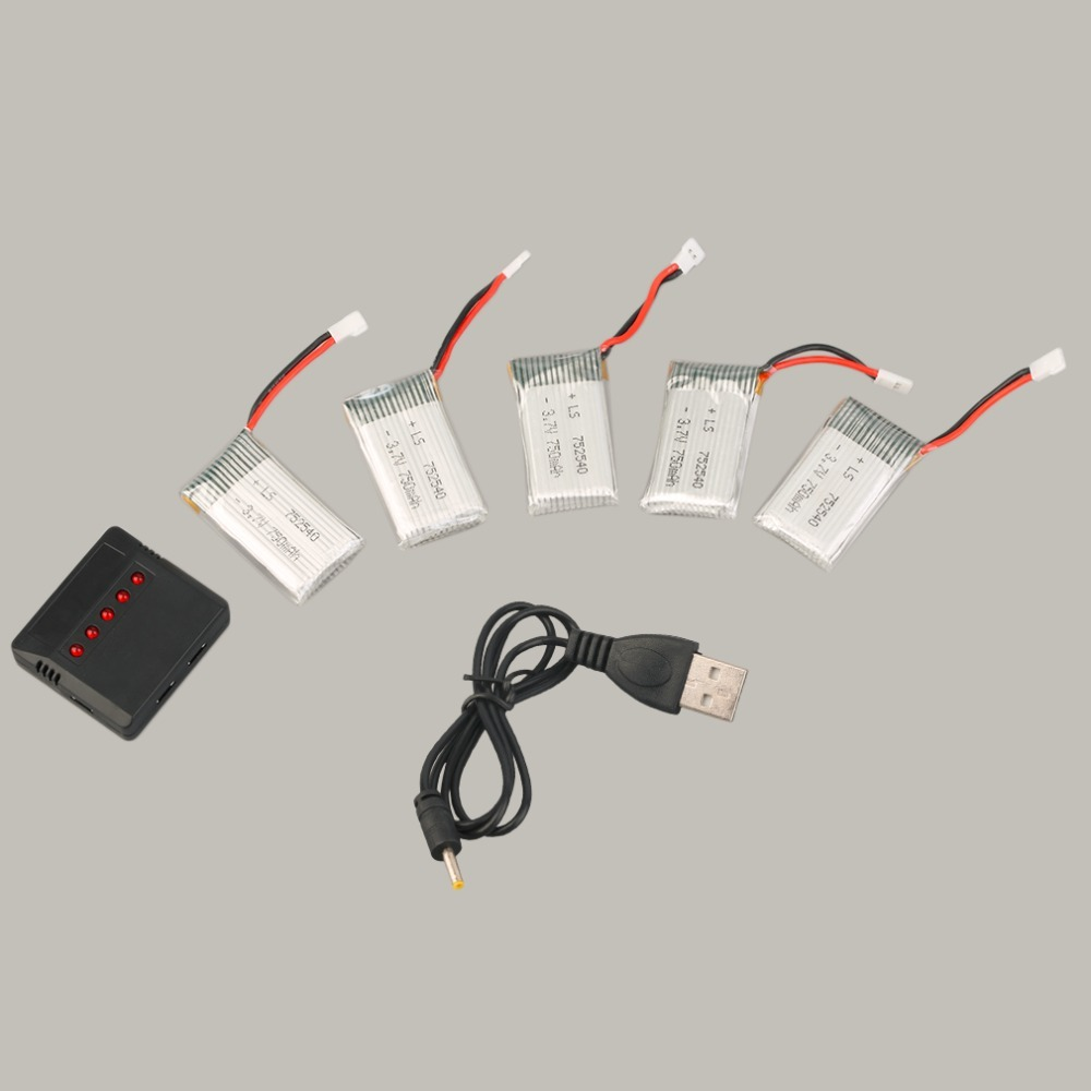 New 5pcs High Quality <font><b>3.7V</b></font> 750mAh Rechargeable <font><b>Lipo</b></font> <font><b>Battery</b></font> with Charger+Cable for SYMA X5C Quadcopter Replacement <font><b>Battery</b></font> image