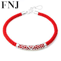 100 Real 925 Sterling Silver Charm Bracelet Red String Rope Chain Bracelets For Lover S New