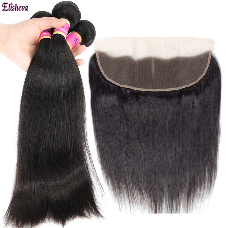 Peruvian Straight Human Hair Bundles With Frontal Remy Hair Pre Plucked Lace Frontal With 3 Bundles