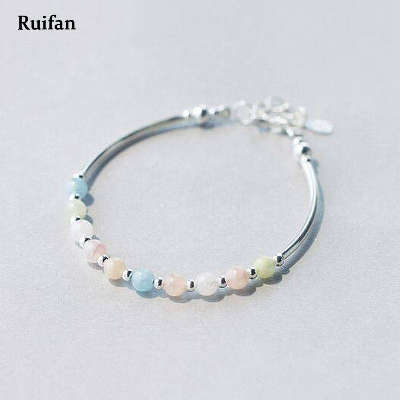 Ruifan Colorful Adjustable Natural Morganite Ladies Wedding 925 Silver Bracelet Femme Female Bracelets Silver 925 Jewelry YBR009