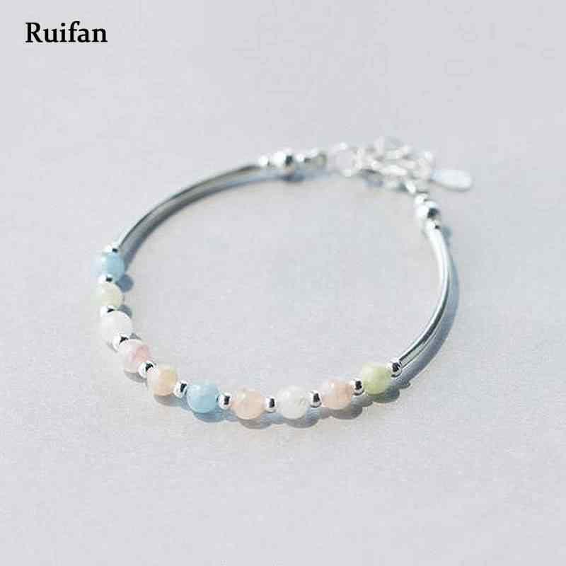 Ruifan ปรับสีสันธรรมชาติ Morganite สุภาพสตรี 925 เงินสร้อยข้อมือผู้หญิงสร้อยข้อมือเงิน 925 เครื่องประดับ YBR009