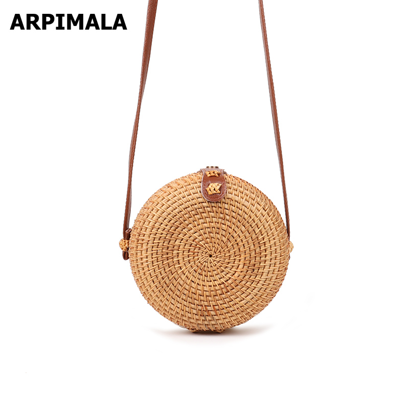 ARPIMALA 2019 Summer Round Straw Bags Women Travel Rattan Bag Handmade Woven Beach CrossBody Bag Circle Bohemian Handbag Сумка