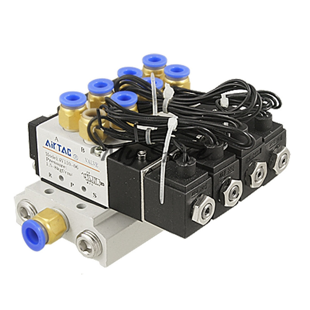 4V110-06 Pneumatic Combination 15/64 Quick Fitting 2 Position 4 Solenoid Valve DC12 DC24V AC110 AC220 w Base Muffler dc 12v 5 16 quick fitting 2 position 5 solenoid valve w base muffler
