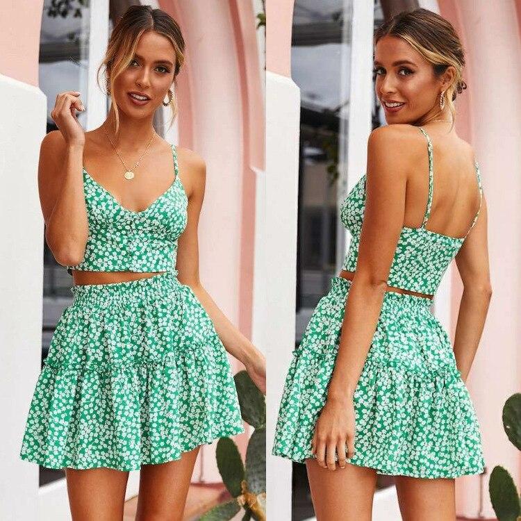 Crop Top And Skirt Set Skirt And Top Set Women Summer 2019 Floral Sleeveless Mini Two Piece Set Top Skirt 2 Piece Matching Sets