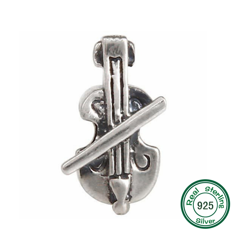 Violin Charm Bead Original 100% Authentic 925 Sterling Silver Music Beads fits Pandora Charms bracelets & Necklaces