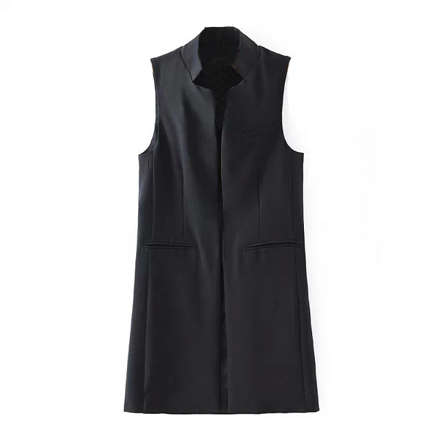 Women's Spring Autumn Brief Stand Collar Vest Slim Long Waistcoat Sleeveless Cardigan Without Sleeves Jacket Vests