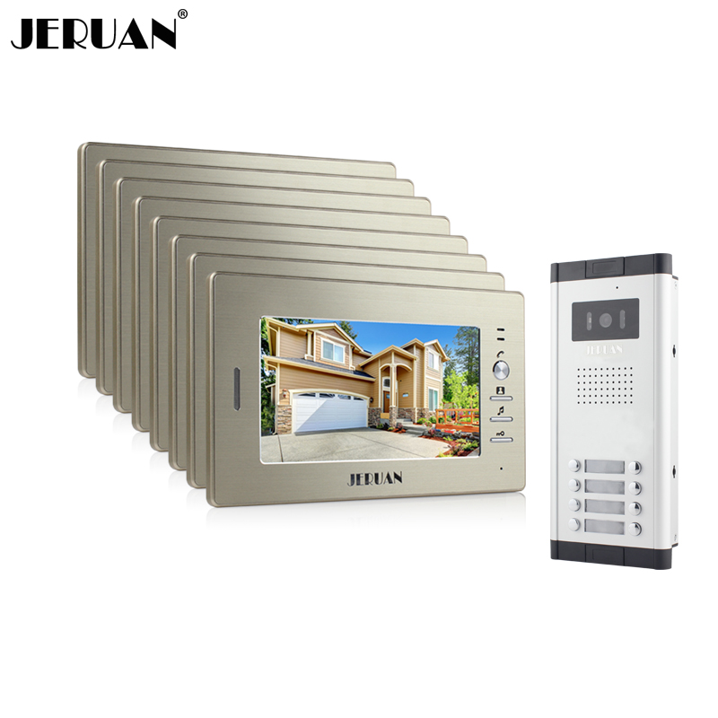 JERUAN Brand New Apartment Intercom System 8 Monitor Wired 7 Color Video Door Phone intercom System for In Stock FREE SHIPPING brand new wired 7 inch color video intercom door phone set system 2 monitor 1 waterproof outdoor camera in stock free shipping