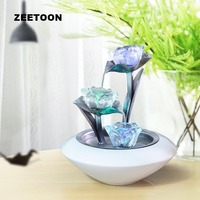 110V 220V Ceramic Vase Lotus Tulip Water Fountain Air Humidifier Fengshui Ornament LED Light Home Decor Atomizer Wedding Gift