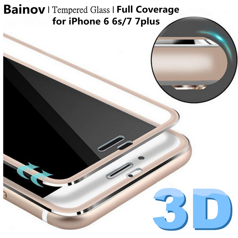 Bainov 3D Curved Edge Tempered Glass Full Coverage For iPhone 7 Titanium Protective Film Screen Protector For iPhone 6 6s Plus