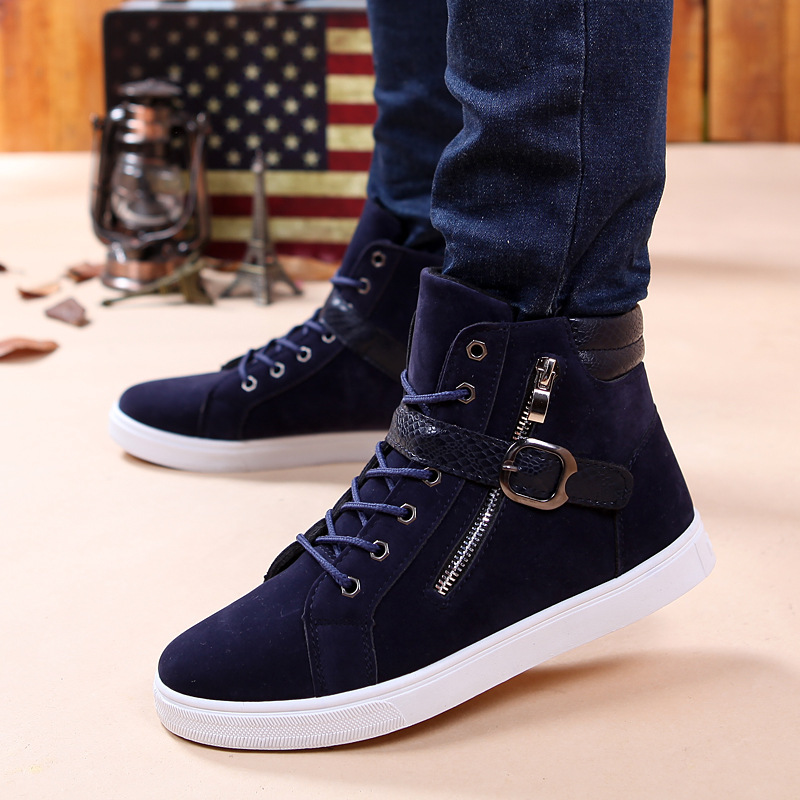 2015 New Zapatillas Men Shoes Fashion Spring Autumn Leather Shoes For Men Lace Up Casual High ...