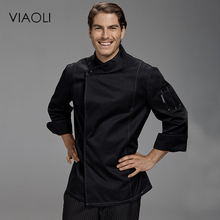 Viaoli Quality Chef Working Uniform Clothing Long Sleeve Men Food Services Cooking Clothes JacketsCoat Uniform  Hotel Kitchen069