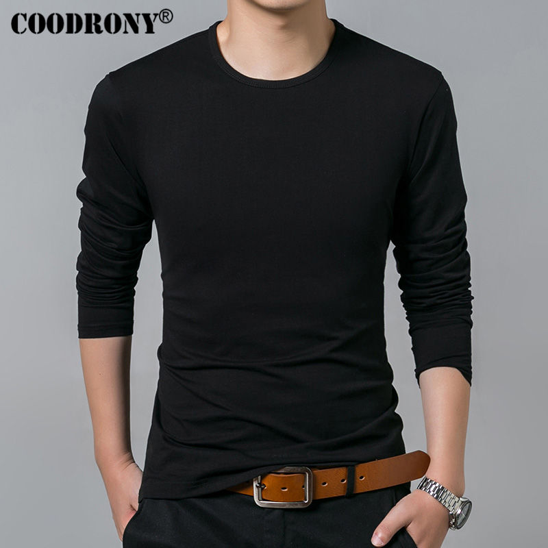 COODRONY Long Sleeve T Shirt Men Brand Clothing Solid Color