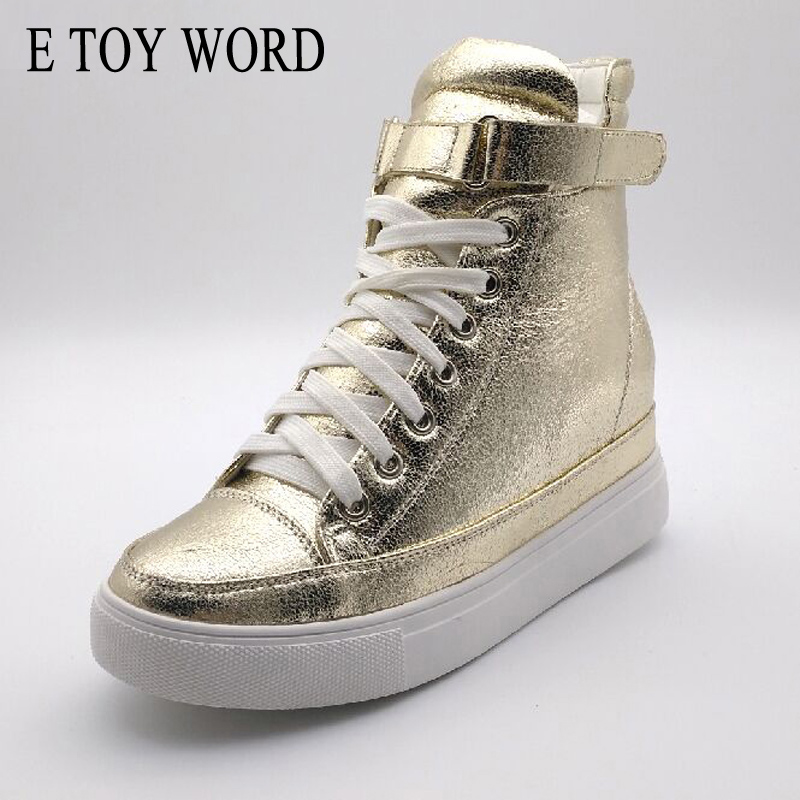 E TOY WORD High Help Women's Shoes 2018 New product Spring Autumn Casual Flats Women Lace-Up Height Increasing Platform Shoes e toy word canvas shoes women han edition 2017 spring cowboy increased thick soles casual shoes female side zip jeans blue 35 40