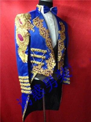 Бесплатная доставка мужские royal blue золотой вышивка ласточкин хвост смокинг/этап/only куртка/может таможенные размер