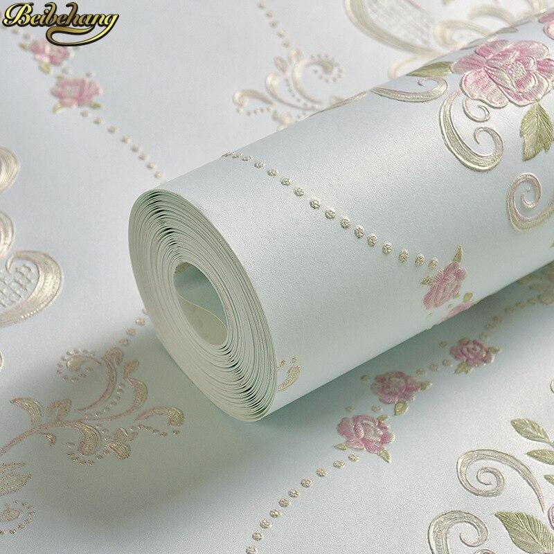 beibehang Vintage European countryside floral Luxury Modern Wallpaper For Walls 3 D Bedroom Living Room pink 3Dwall paper rolls