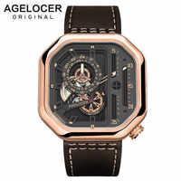Relojes deportivos marca suiza AGELOCER para hombre esfera con mecanismo al descubierto con manecillas luminosas relojes mecánicos únicos reserva de energía 42 horas