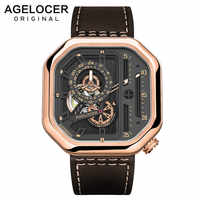 Schweizer Marke AGELOCER Sport Uhren für Männer Skeleton Zifferblatt mit Leucht Hände Einzigartige Mechanische Uhren Gangreserve 42 Stunden