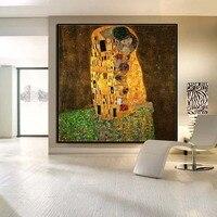 Oostenrijk Gustav Klimt Kus Abstract Art olieverfschilderij home decoration Wall Art foto's Voor Woonkamer Slaapkamer GEEN FRAME