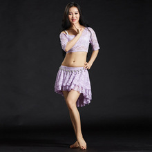 Belly Dance practice Clothes Women high quality fabric Lace Outfits 2pcs Top Skirt(with pant) Modal Bellydancing Costume