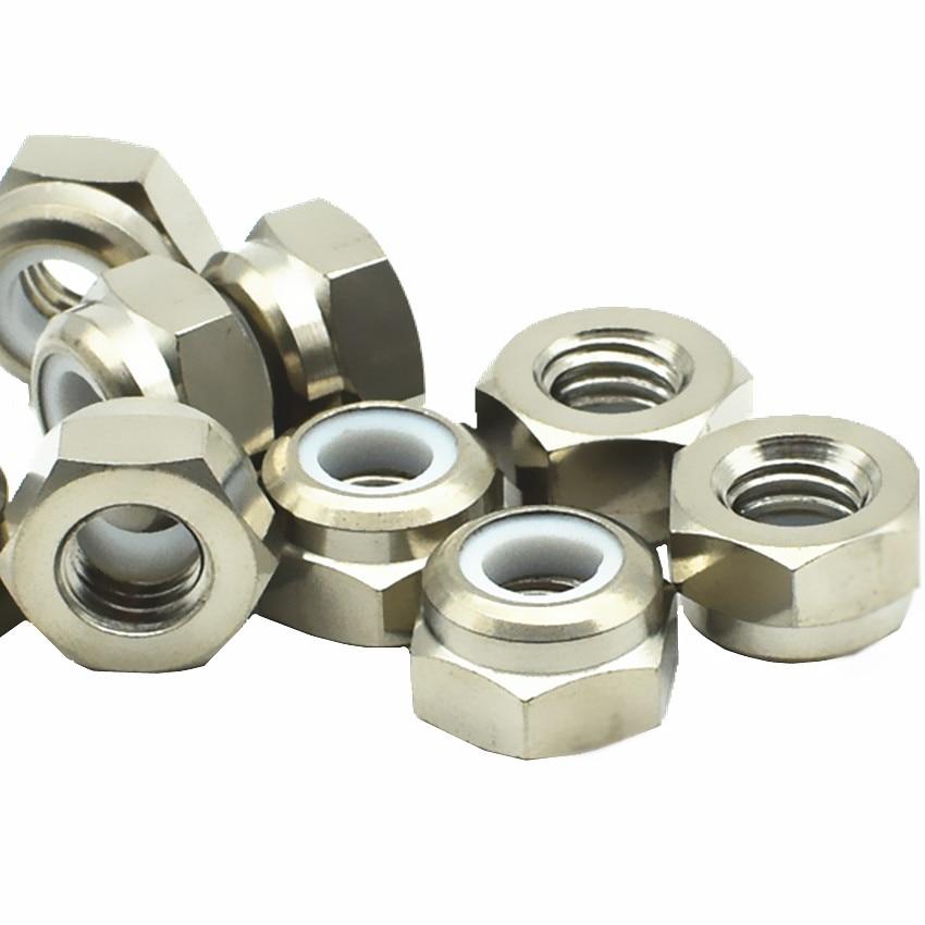 Titanium Nylon Nut with Plastic Antiskid M3 M4 M5 M6 M8 Ti Color Steel Color 4/6pcs Hexagon Titanium Nuts Ti Fastener 2 pcs ti screw nut m10 m12 m14titanium flange nut gold multiple and ti color hexagon titanium screw nuts ti fastener