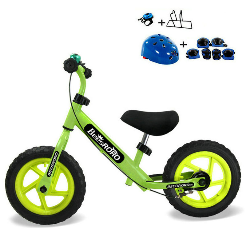 High Quality 12 Baby Balance Bike With Hand Brake, Steel Frame and EVA Solid Wheel, No Pedal Bike with Protective Gear Gift 1 set of high quality rc rubber wheel with brake axle for airplane viper brake system