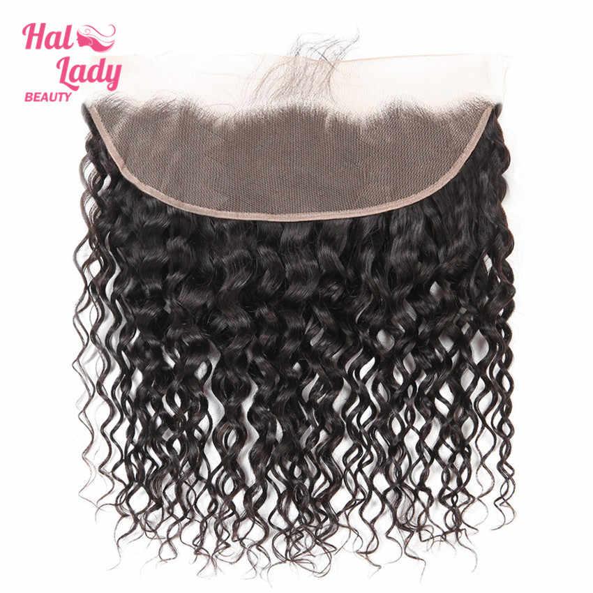 Halo Lady Beauty Natural Water Wave Lace Frontal With Baby Hair Brazilian Human Hair Weft 13*4 Frontal Closure Non-remy