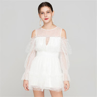 Top women jumpsuits & rompers elegant white playsuits ruffles lace sweet off the shoulder jumpers European and American style
