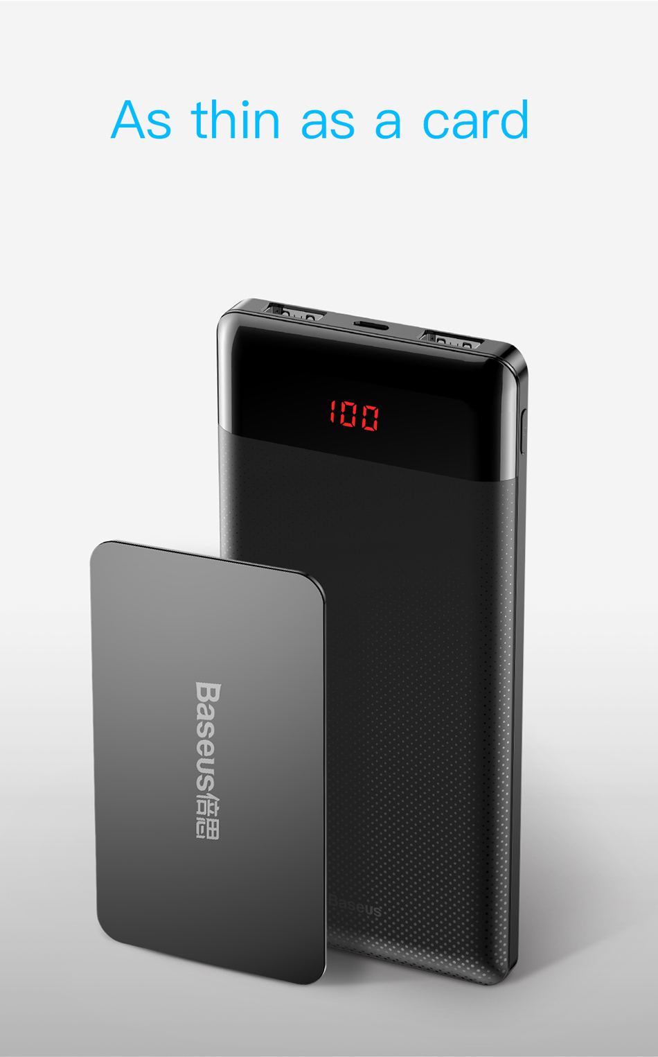 Baseus 10000mAh Power Bank For Xiaomi Samsung iPhone Huawei Powerbank Portable Mini Dual USB Charging External Battery Pack Bank 2