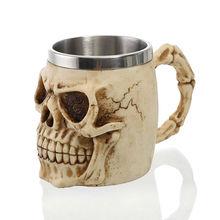 3D ออกแบบ 350ml กะโหลกศีรษะแก้ว 12oz ผนังคู่ถ้วยกาแฟชาถ้วย