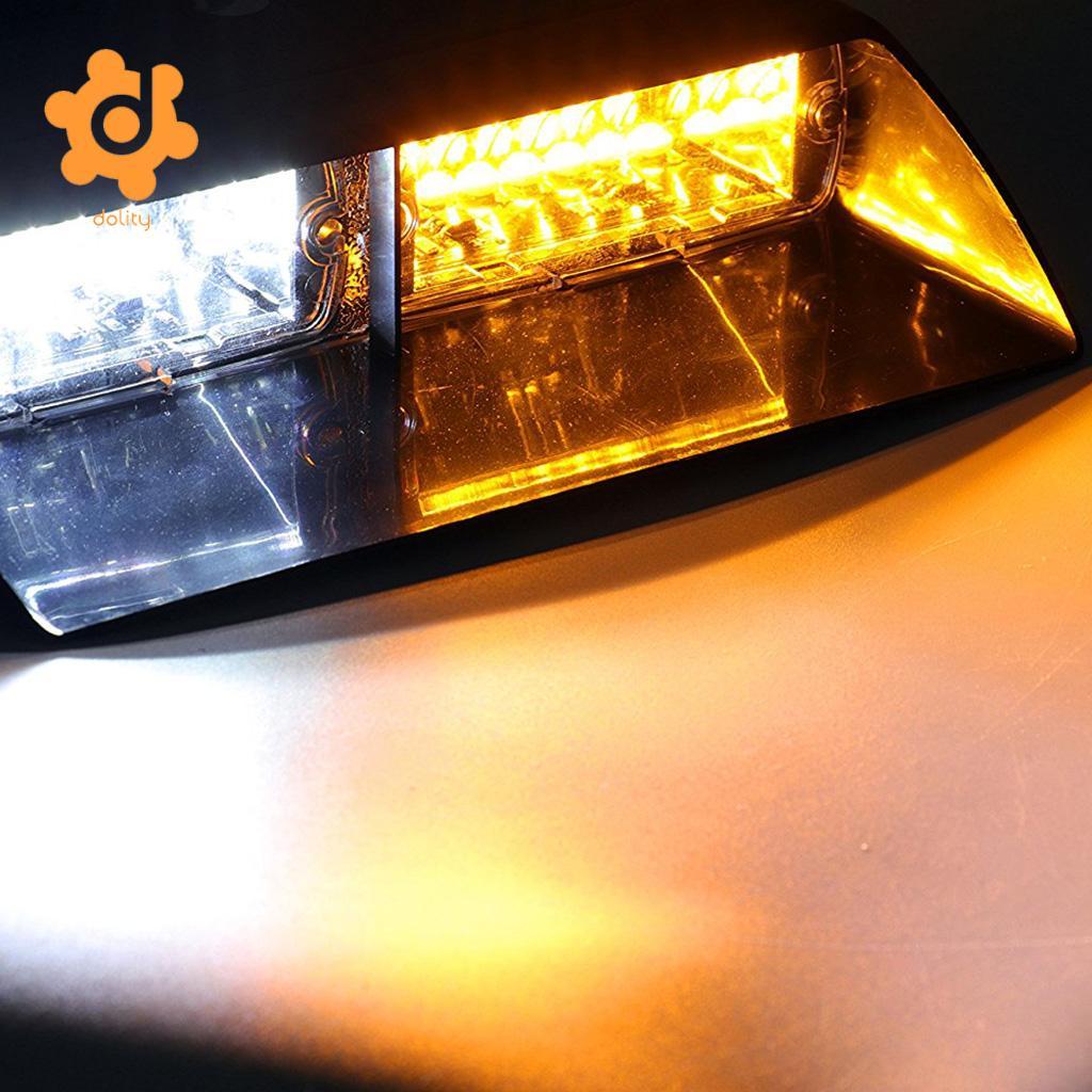 Car 16LED 18 Flashing Modes Emergency Warning Strobe Flash Light Amber+White