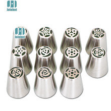 drop shipping 11pcs set russian piping nozzles Steel Flower Cream Pastry Tips Nozzles