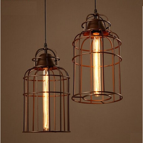 Iron Birdcage Lampshade Industrial Vintage Pendant Lights Edison Fixtures For Bar Dining Room Hanging Light Suspension Luminaire iwhd gold iron style loft industrial vintage pendant lights retro birdcage hanging lamp kitchen dining room luminaire suspendu