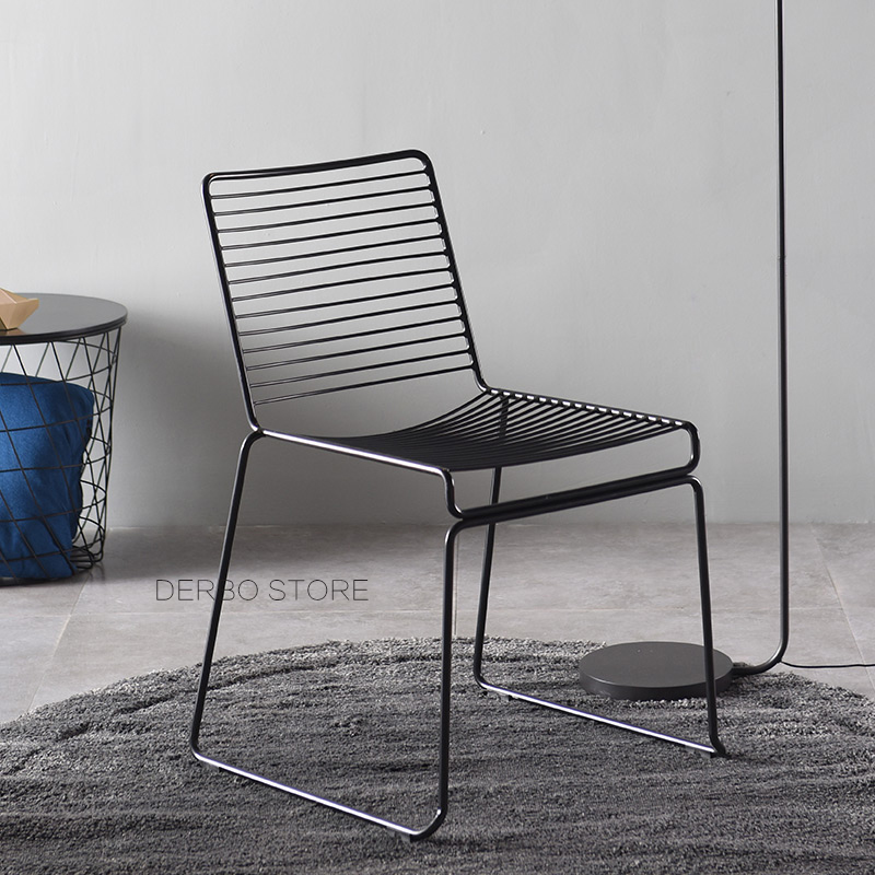 US $158.0 |Nordic Studio Wire Hee Chair Modern Classic Loft Metal Outdoor  Chair Stackable Harry Bertoia Steel Cafe Side Chair with Pad 1PC-in Dining  ...